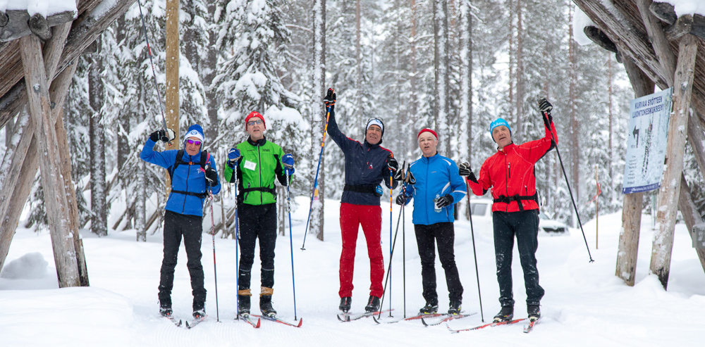 Happy skiers in Syöte area