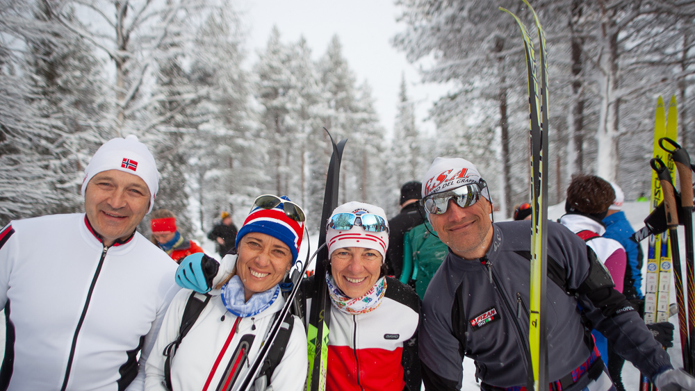 Smiling Border to Border skiers